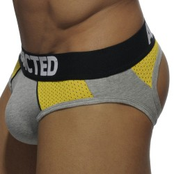 Slip Bottomless Combi Mesh Gris - Jaune Addicted