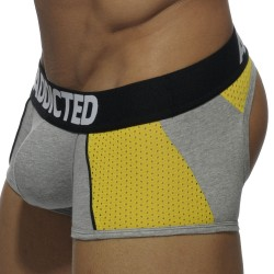 Boxer Bottomless Combi Mesh Gris - Jaune Addicted
