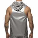 Metal Sleeveless Hoody - Silver