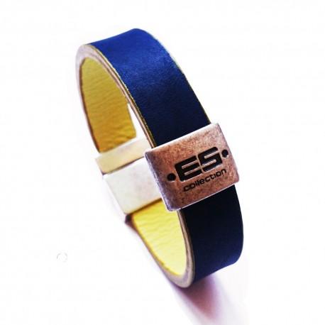 Bracelet en Cuir Réversible Marine - Jaune