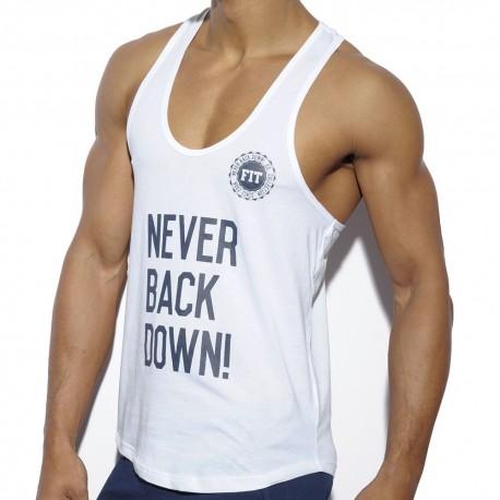 Débardeur Never Back Down Blanc