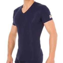 T-Shirt V-Neck Jersey Cotton Stretch Marine DSQUARED2