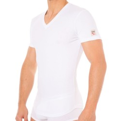 T-Shirt V-Neck Jersey Cotton Stretch Blanc DSQUARED2