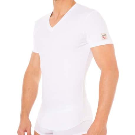 Jersey Cotton Stretch V-Neck T-Shirt - White