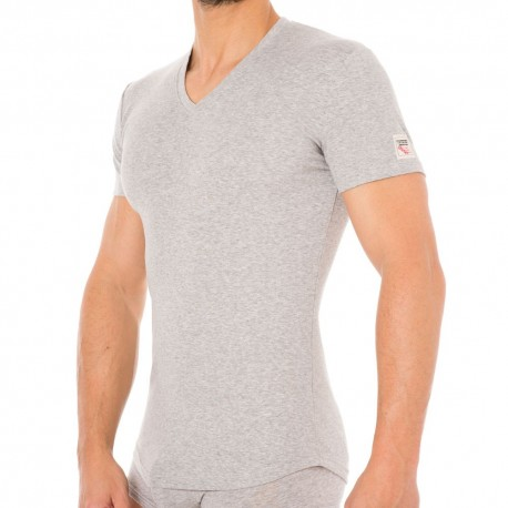 T-Shirt V-Neck Jersey Cotton Stretch Gris