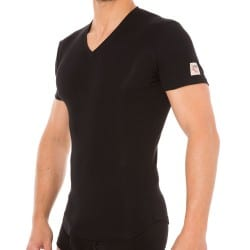 T-Shirt V-Neck Jersey Cotton Stretch Noir DSQUARED2