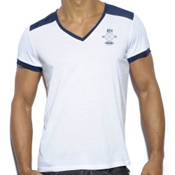 T-Shirt Mesh Combined Blanc - Marine ES Collection