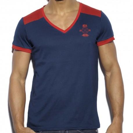 T-Shirt Mesh Combined Marine - Rouge