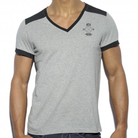 Mesh Combinet T-Shirt - Grey - Black