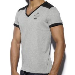 T-Shirt Mesh Combined Gris - Noir ES Collection