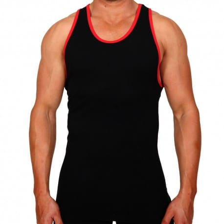 Bolt Tank Top - Black - Red