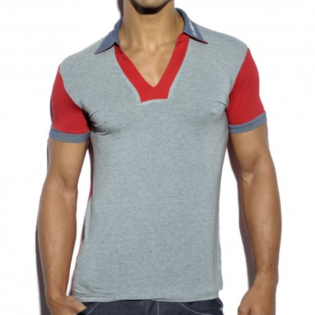 Polo Retro Printed Gris - Rouge