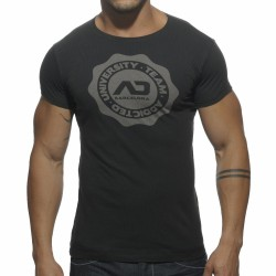T-Shirt Stamp Col Rond Noir Addicted