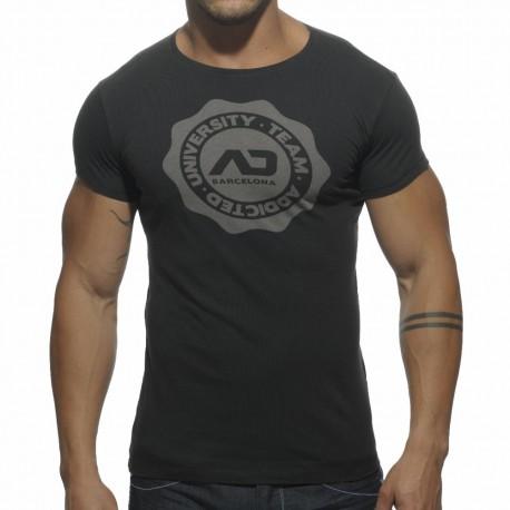 Crew Neck Stamp T-Shirt - Black