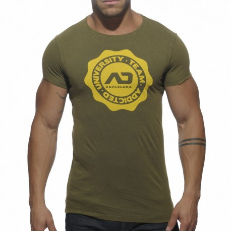 Crew Neck Stamp T-Shirt - Khaki