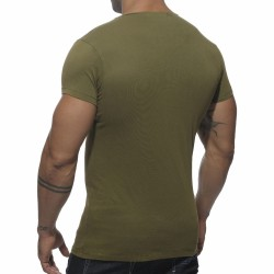 T-Shirt Stamp Col Rond Kaki Addicted