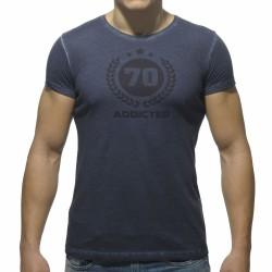 T-Shirt Varsity Col Rond Marine Addicted