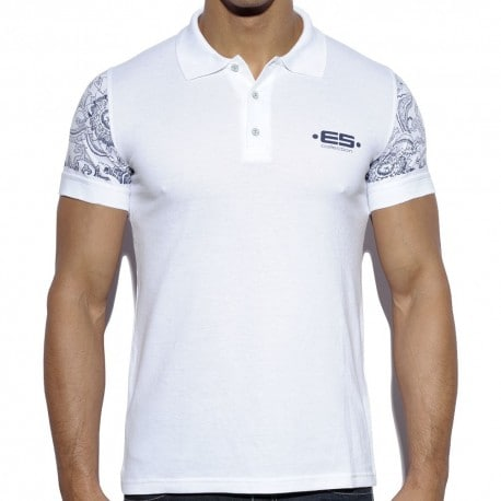 Sleeve Printed Polo Shirt - White