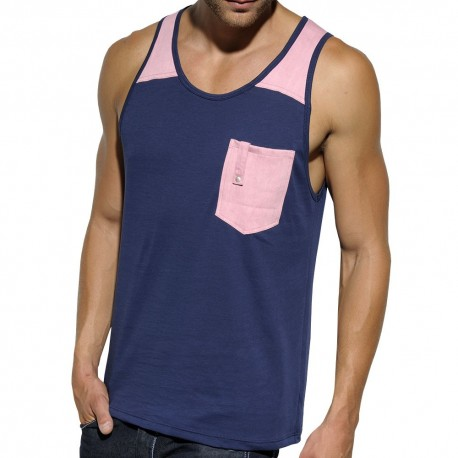 Dyed Wash Tank Top - Navy - Pink