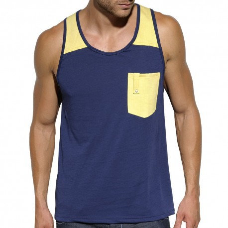Dyed Wash Tank Top - Navy - Yellow