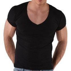 T-Shirt V-Neck Noir Roberto Lucca