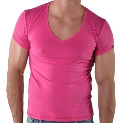 T-Shirt V-Neck Rose Roberto Lucca