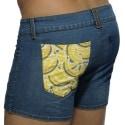 Print Mesh Pocket Jeans Short - Indigo