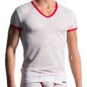 M602 V-Neck T-Shirt - White - Red