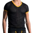 M602 V-Neck T-Shirt - Black - Yellow