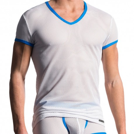 M602 V-Neck T-Shirt - White - Blue