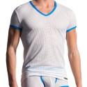 T-Shirt V-Neck M602 Blanc - Bleu