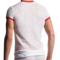 T-Shirt V-Neck M602 Blanc - Rouge Manstore