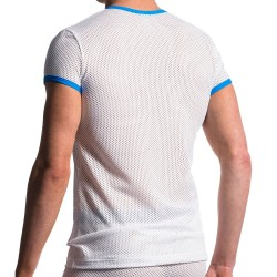 T-Shirt V-Neck M602 Blanc - Bleu Manstore