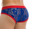 Floral Lace Brief - Blue - Red