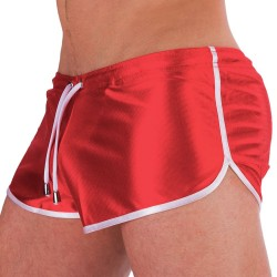 Silvain Shiny Short - Red - White Barcode