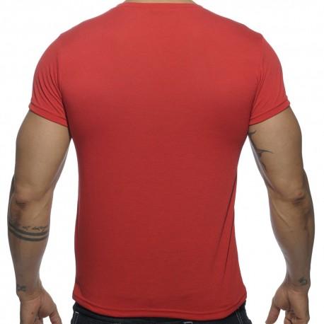 T-Shirt V-Neck Basic Rouge