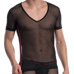 T-Shirt V-Neck RED 1606 Noir Olaf Benz