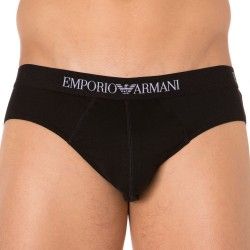 Lot de 2 Slips Pure Cotton Noirs Emporio Armani