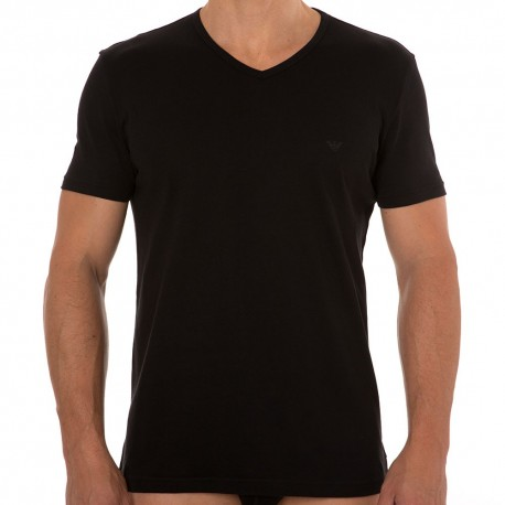 2-Pack Pure Cotton V-Neck T-Shirts - Black