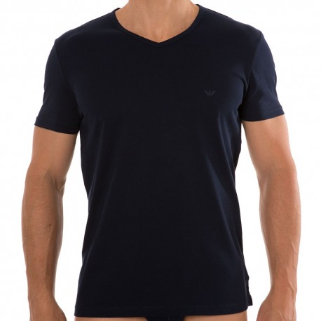 2-Pack Pure Cotton V-Neck T-Shirts - Navy - Grey