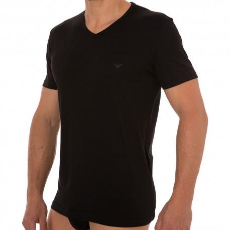 Lot de 2 T-Shirts V-Neck Pure Cotton Noirs
