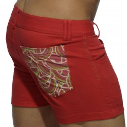 Short Print Mesh Pocket Rouge Addicted