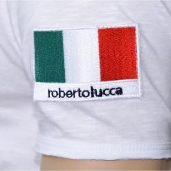T-Shirt V-Neck Italie Blanc Roberto Lucca