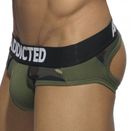 Combi Mesh Bottomless Brief - Khaki - Camouflage