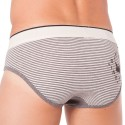 Striped Viscose Brief - Grey