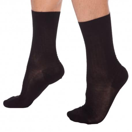 2-Pack Lisle Socks - Black