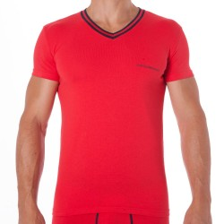T-Shirt Striped Logo Band Rouge Emporio Armani