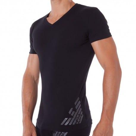 Hexagon Printed Big Eagle T-Shirt - Black
