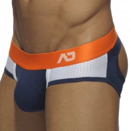 Contrast Mesh Bottomless Brief - Navy