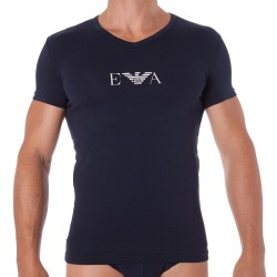 T-Shirt Stretch Cotton Marine Emporio Armani